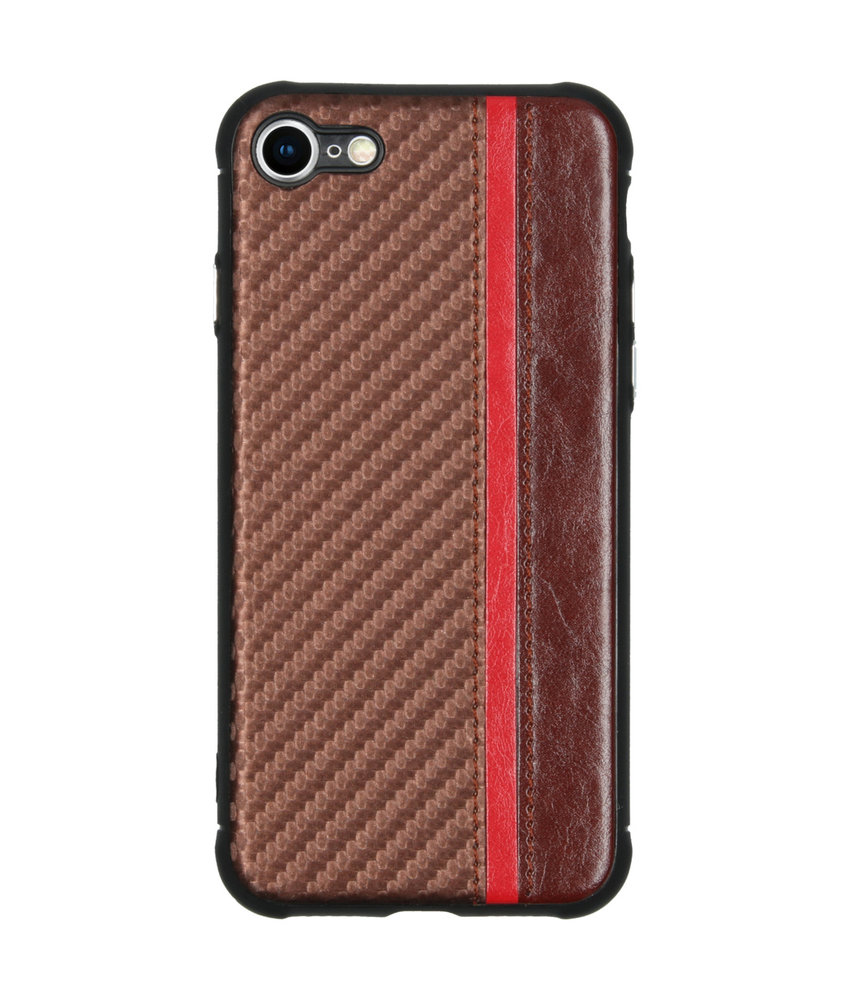 Carbon Design Backcover iPhone 8 / 7 - Bruin