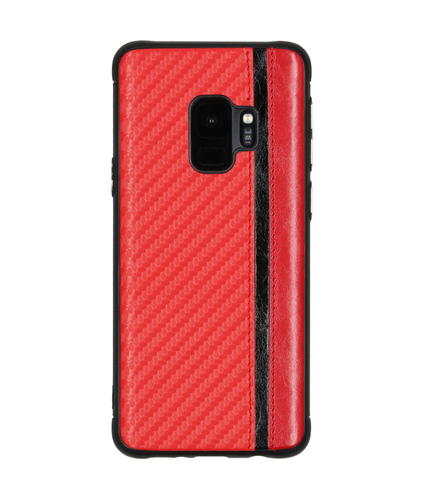 Carbon Design Backcover Samsung Galaxy S9 - Rood
