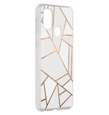 Design Backcover voor de Samsung Galaxy M30s - Grafisch Wit / Koper