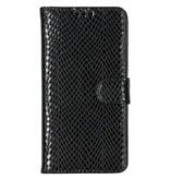 Slangenprint Booktype voor de iPhone 11 - Zwart