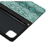 Slangenprint Booktype voor de iPhone 11 - Lichtblauw