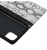 Slangenprint Booktype voor de iPhone 11 - Wit