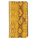 Slangenprint Booktype voor de iPhone 11 - Geel