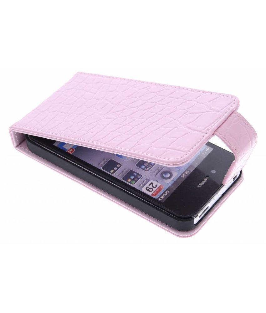 Roze krokodil flipcase iPhone 4 / 4s