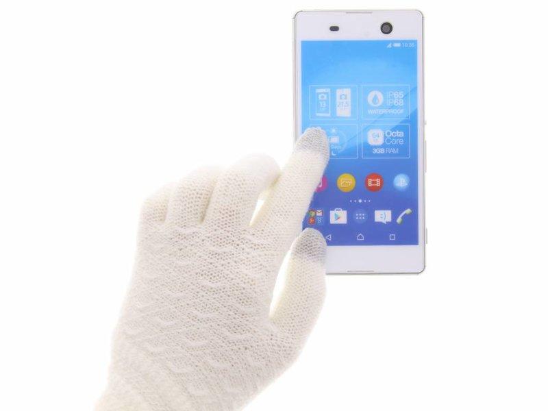 Witte gebreid design touchscreen handschoenen