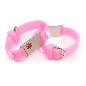 Icetags Medische kinderarmband roze hartjes