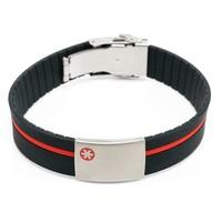 Medical ID bracelet red/blue/green band