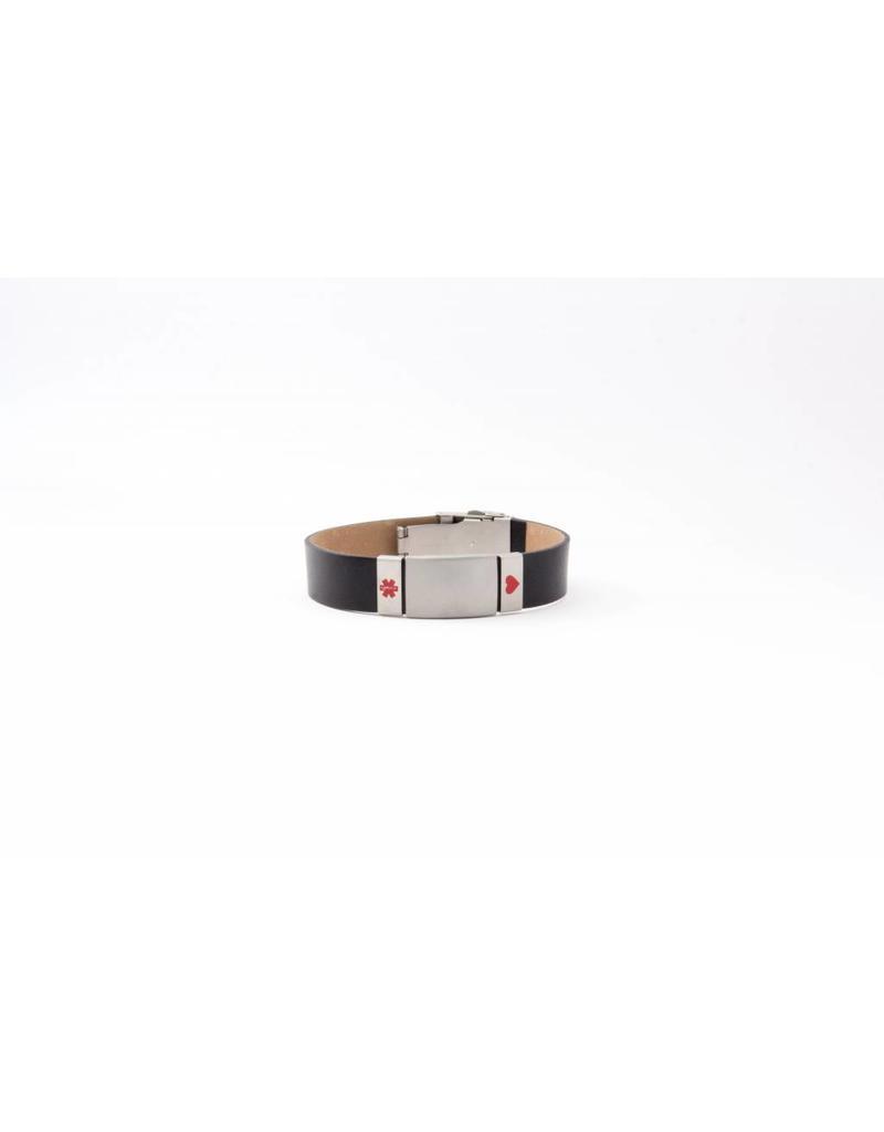 Black leather ID bracelet sport Unisex
