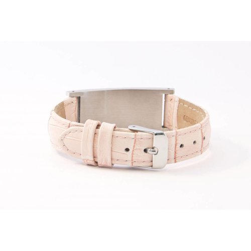 Icetags Leather pink ID bracelet for women