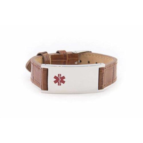 Icetags Bruin leren unisex medische SOS armband