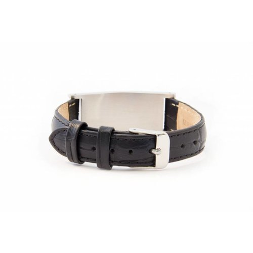 Black leather medical ID bracelet  women