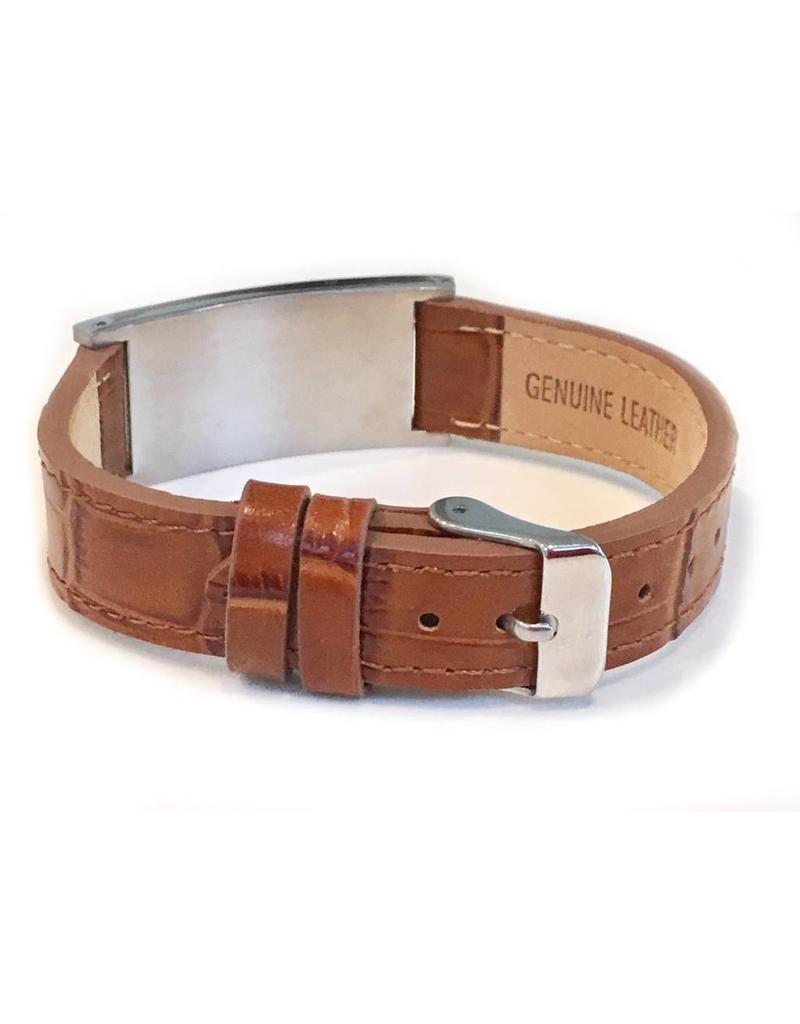 Stylish brown Leather Medical ID bracelet - Unisex