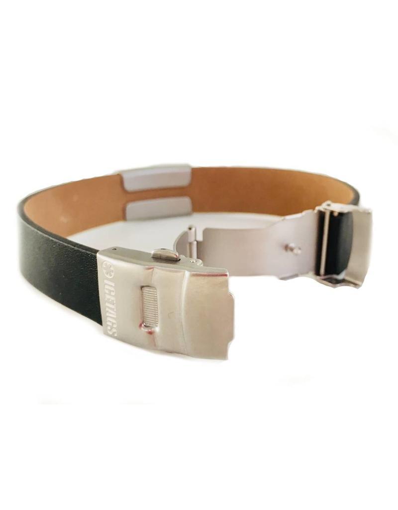 Medical black leather ID bracelet sports