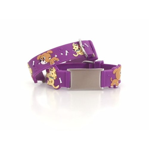 Icetags Purple doggies ID alert bracelet