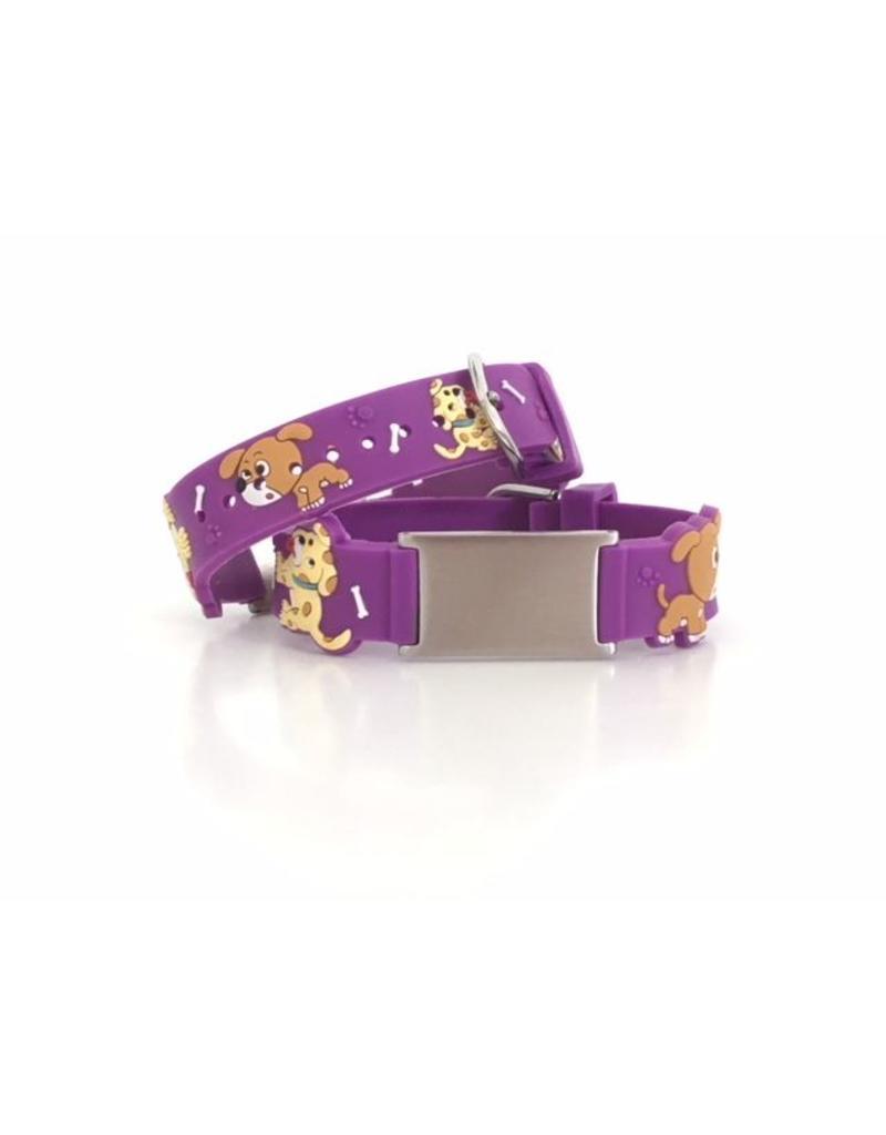 Purple doggies ID alert bracelet