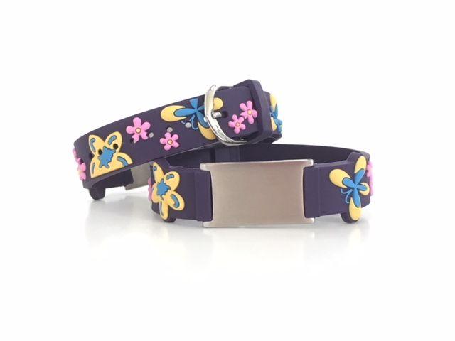 Purple butterfly name ID bracelet girls