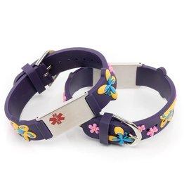 Medical name bracelet purple butterfly