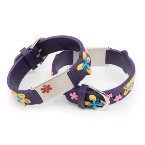 Icetags Medical name bracelet purple butterfly