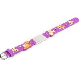 Purple doggies ID bracelet