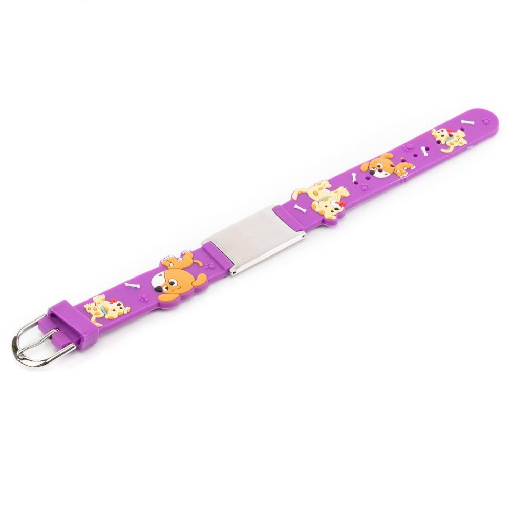 SOS armband paars met hondjes