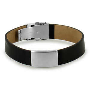 Icetags Black leather ID bracelet