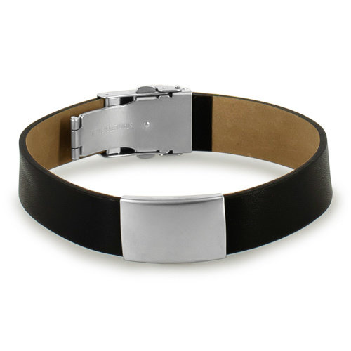 Icetags Black leather ID bracelet sport Unisex
