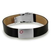 Medical black leather ID bracelet