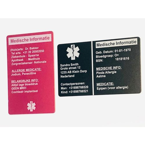 Medical information card for wallet & personalized key chains