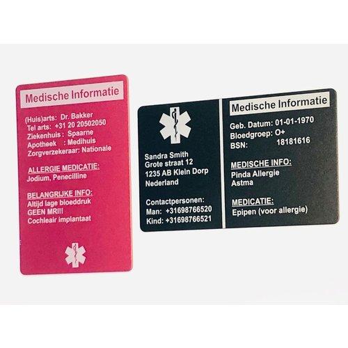 Medische kaarten en sleutelhangers