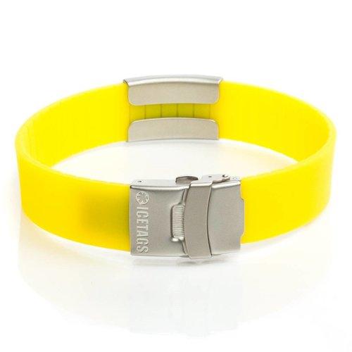 Icetags ID armband met sos gegevens geel