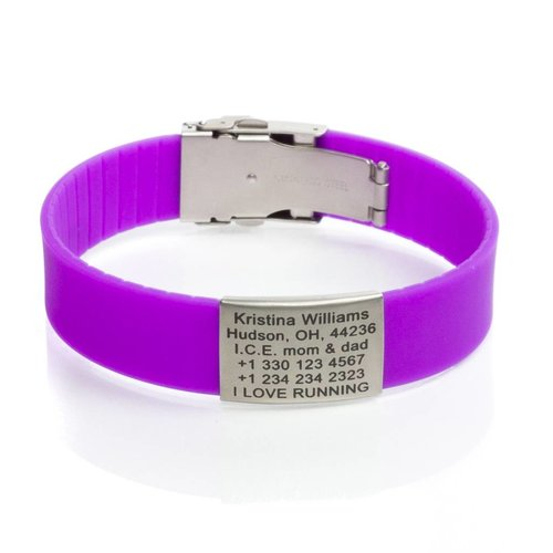 Icetags Engraved ladies emergency ID bracelet Purple