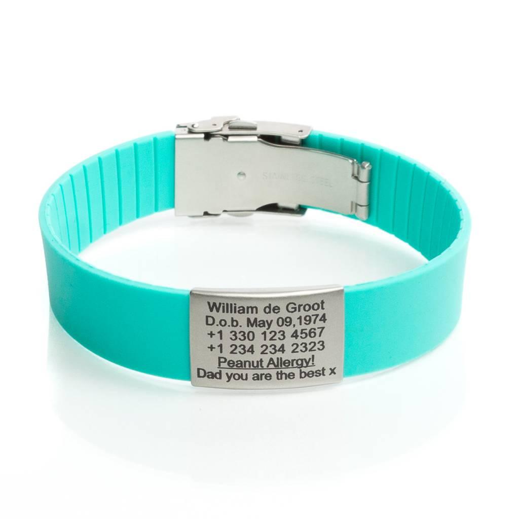 Super Icetags SOS naam armband Turquoise - Icetags KA-17