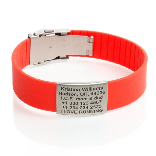 Icetags Sport ID  bracelet personalized red