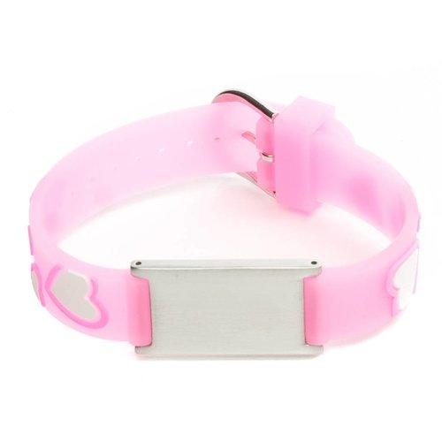 Icetags ID armband kind Roze hartjes