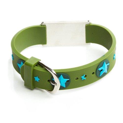 Icetags Allergy alert bracelet green stars