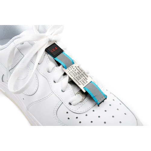 Icetags Shoe ID tag Blue; name tag with velcro strip attached to your laces