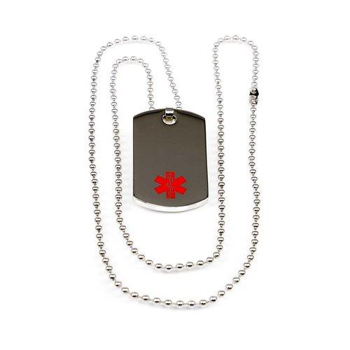 Medische  zilverkleurige ketting met dog-tag