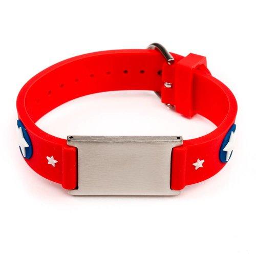 Icetags ID armband met naam voor kind; rood sterren