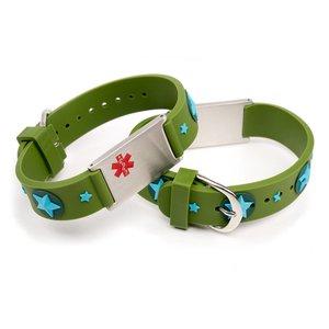 Allergy alert bracelet green stars