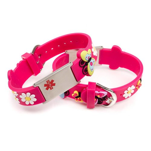 Icetags Medische naam armband kind roze