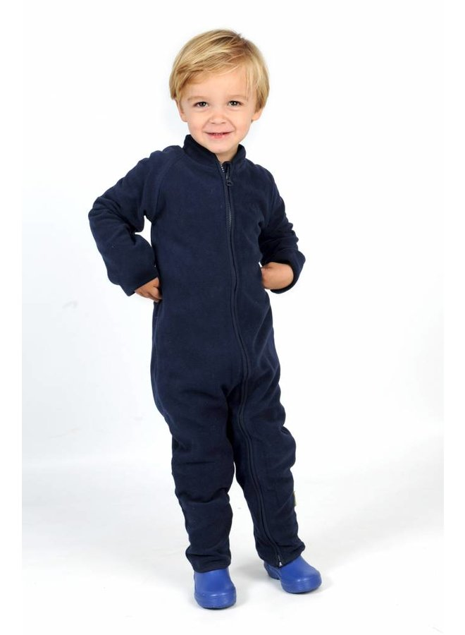 Fleece pak onesie, jumpsuit navy blauw| 68-104
