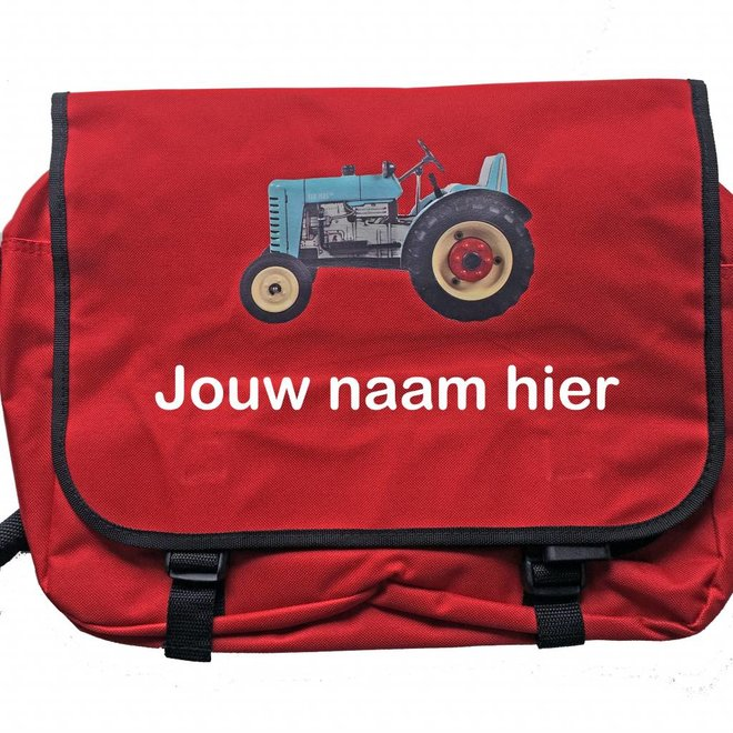 Reporter bag with tractor and name | red
