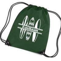 thumb-Personalised drawstring gymbag with surfboards and your name-2