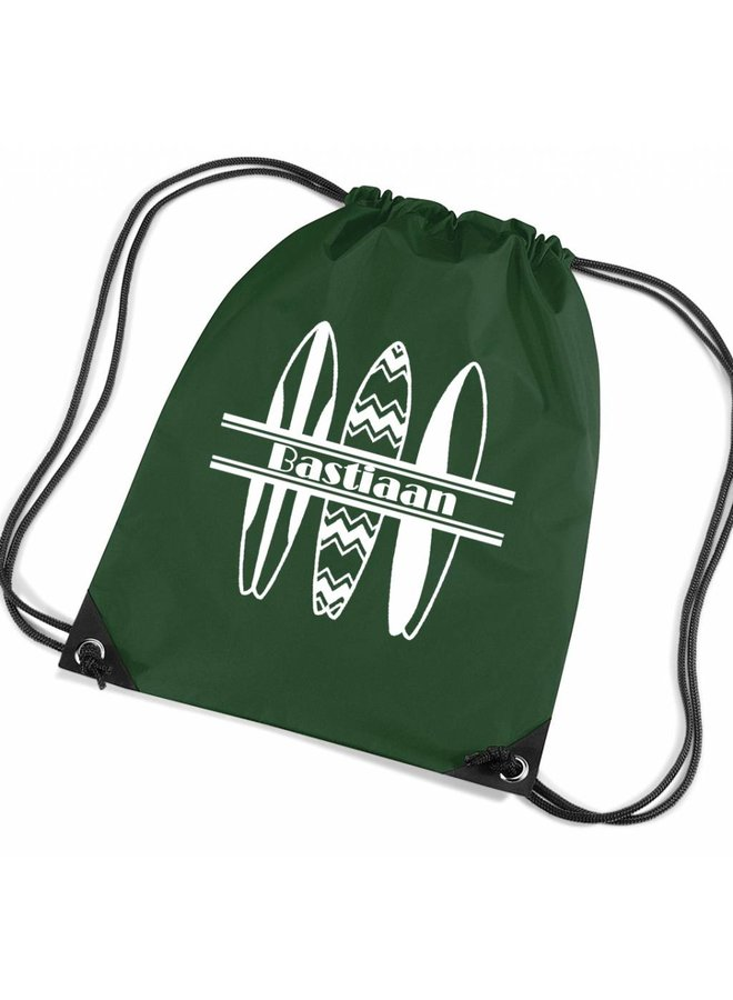Personalised drawstring gymbag with surfboards and your name