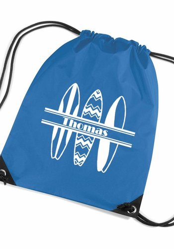 Gym bag with surfboards and your name