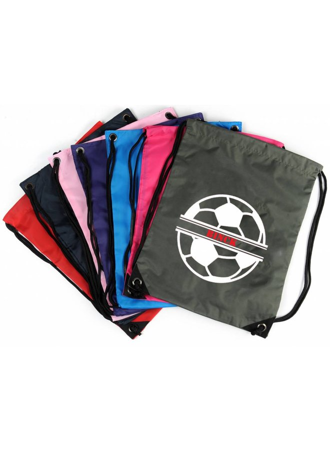 Personalised drawstring gymbag with football