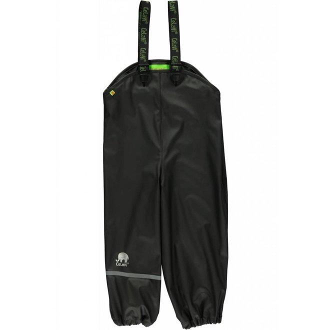 Black children's rain pants with suspenders | size 70-100