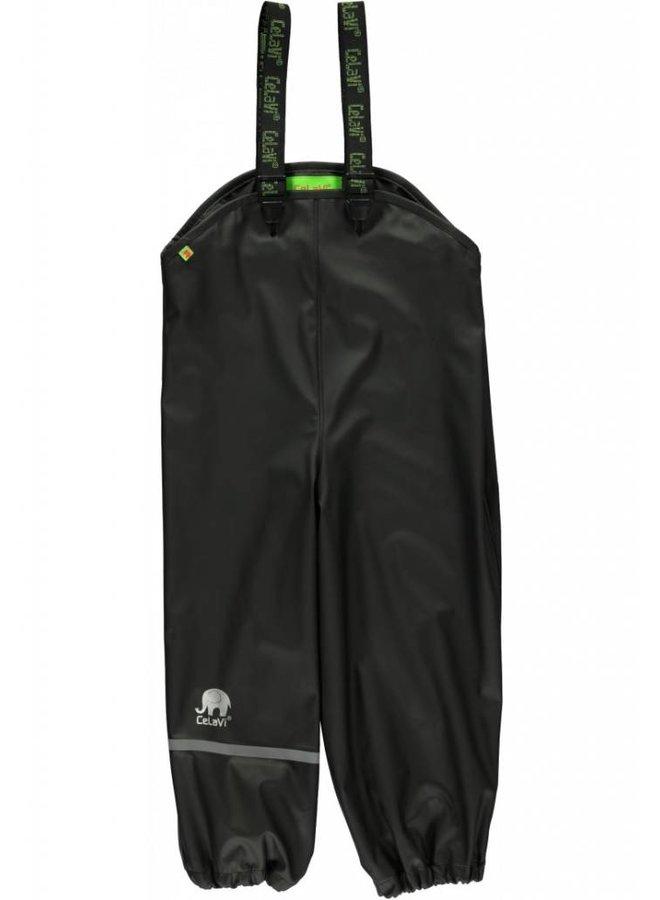 Zwarte kinder regenbroek met bretels | maat 70-100