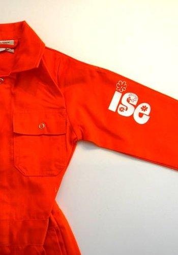 Printed orange overalls with text or name