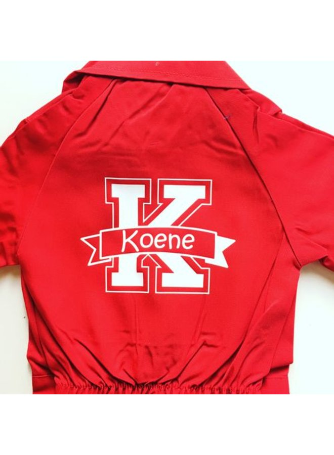Coverall printed with monogram and name